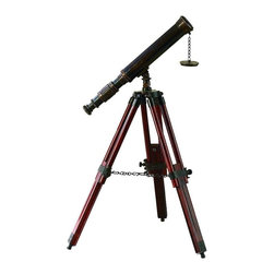 Benzara - Brass Wood Telescope - Brass Wood Telescope is a unique nautical decor item that sets fit to any home decor plan. If you are interested in celestial bodies or want to feel the distant bodies nearer, it must to have decor accent.