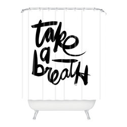 DENY Designs - Kal Barteski Take Bw Shower Curtain - Who says bathrooms can't be fun? To get the most bang for your buck, start with an artistic, inventive shower curtain. We've got endless options that will really make your bathroom pop. Heck, your guests may start spending a little extra time in there because of it!