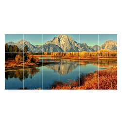 Picture-Tiles, LLC - Lake River Photo Kitchen Bathroom Tile Mural  18 x 36 - * Lake River Photo Kitchen Bathroom Tile Mural 1662