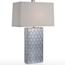 """Arteriors - Arteriors Roanoke Slate Porcelain Table Lamp - A repetitive circle pattern in slate gray dots the Roanoke table lamp by Arteriors. This contemporary design is topped with a sleek rectangular shade. Porcelain; Light gray shade; 3-way switch; Clear/silver cord; Accepts 150W A15 incandescent bulb (not included); UL and CUL listed; Wired for 110-120v; Handcrafted; Variations in finish may occur; 9"""" x 18"""" Rectangle; 29""""H"""