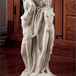 Design Toscano - Design Toscano Column of the Maenads Sculptural Pedestal - NG32459 - Shop for Caddies and Stands from Hayneedle.com! A trio of graceful worshippers of Dionysus. The Design Toscano Column of the Maenads Sculptural Pedestal is a lush addition to your indoor or outdoor space. This pedestal is artfully carved of weather-resistant designer resin and finished to resemble stone. Its top is a perfect for display piece.About Design ToscanoDesign Toscano is the country's premier source for statues and other historical and antique replicas which are available through the company's catalog and website. Design Toscano's founders Michael and Marilyn Stopka created Design Toscano in 1990. While on a trip to Paris the Stopkas first saw the marvelous carvings of gargoyles and water spouts at the Notre Dame Cathedral. Inspired by the beauty and mystery of these pieces they decided to introduce the world of medieval gargoyles to America in 1993. On a later trip to Albi France the Stopkas had the pleasure of being exposed to the world of Jacquard tapestries that they added quickly to the growing catalog. Since then the company's product line has grown to include Egyptian Medieval and other period pieces that are now among the current favorites of Design Toscano customers along with an extensive collection of garden fountains statuary authentic canvas replicas of oil painting masterpieces and other antique art reproductions. At Design Toscano attention to detail is important. Travel directly to the source for all historical replicas ensures brilliant design.