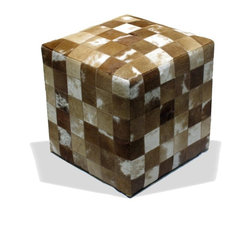 Loominary - Cowhide Ottoman - Add a little cowboy chic to your space with this ruggedly refined ottoman. Cube shaped, checkerboard patterned and covered in natural cowhide, it's an easy, elegant way to wrangle some chic western style.