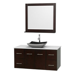 "Wyndham Collection - Centra 48"" Espresso Single Vanity, White Man-Made Stone Top, Black Granite Sink - Simplicity and elegance combine in the perfect lines of the Centra vanity by the Wyndham Collection. If cutting-edge contemporary design is your style then the Centra vanity is for you - modern, chic and built to last a lifetime. Available with green glass, pure white man-made stone, ivory marble or white carrera marble counters, with stunning vessel or undermount sink(s) and matching mirror(s). Featuring soft close door hinges, drawer glides, and meticulously finished with brushed chrome hardware. The attention to detail on this beautiful vanity is second to none."