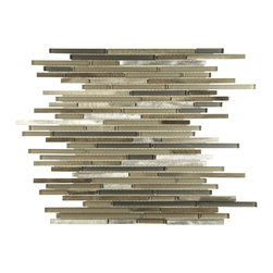 None - SomerTile 11.75x11.75-inch Fuse Mini Linear Aragon Brushed Aluminum and Glass Mo - The SomerTile Fuse Mini Linear Aragon 11.75 inch x 11.75 inch x .25 inch Brushed Aluminum and Glass Mosaic Wall Tile features brushed aluminum in shades of silver,muted browns mix in with clear and frosted foil-backed glass.