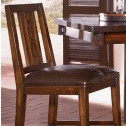 """A-America - Mesa Rustica Slat Back Barstool (Set of 2) - Mesa Rustica has design, function, value and is built to last! Crafted of solid plantation mahogany with hand crafted details including chair back cut outs, true pegged through tenons, corner pegs and distressing. Each piece has its own unique characteristics. A rich dark finish and woven stitching on chairs and barstools inspired by South American motifs will surely make a lasting impression. Features: -Barstool. -Mesa Rustica collection. -Solid mahogany construction. -Hardware: Antique Bronze. -FinisHeight: Aged Mahogany. -Hand stitched detail on parson chairs and stools. -Pirelli webbing. -Slat back. -Assembly required. -Easy Care PU leather. -Seat Height: 24"""". -Dimensions: 41"""" H x 17"""" W x 21.22"""" D."""
