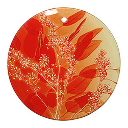 Dr. Paula Fontaine/Radiant Art Studios (RAS) - X-Ray Photograph Glass Ornament/Suncatcher Orange Leaves Design - Stunning 3.5 inch ornament features orange leaves design by surgeon and X-Ray photographer Dr. Paula Fontaine.  Natural hemp cord.  May also be used a suncatcher.