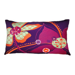 "KOKO - Embroidered Flower Pillow, 15"" x 27"" - What a pretty statement piece for a bed or a sofa. The flowers are modern and playful and the layers of fabric add a nice texture. Adding one really bold pillow like this would finish an eclectic collection perfectly."