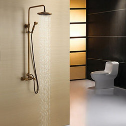 Shower Faucets - Antique Brass Shower Faucet with 8 inch Shower Head and Hand Shower--Faucetsmall.com