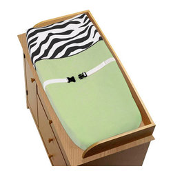Sweet Jojo Designs - Green Zebra Changing Pad - The Green Zebra changing pad cover will help complete the look of your Sweet Jojo Designs nursery. This changing pad cover can be used with standard or contoured changing pads up to 17in. x 31in. It also has elastic edges for a tailored, snug fit.