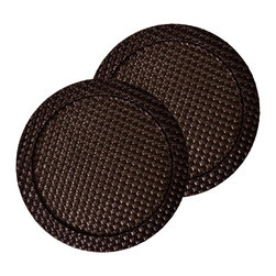 Tango - Faux Leather 2-piece Brown Weave Round Charger Set - Accent the table elegantly with this set of two weave textured faux leather chargers in righ. High quality faux leather looks and feels like real leather and the easily wipe clean finish ensures lasting beauty.