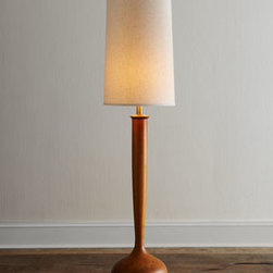 "Horchow - Tulip Floor Lamp - We love the clean design and mid-century modern feel of this floor lamp. The elongated linen shade nicely balances the ""tulip bulb"" base and slender neck. Made of solid wood. Stain finish. Flax linen shade with styrene backing. Three-way switch on s..."