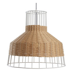 Blu Dot - Blu Dot Laika Medium Pendant Light, Natural - White or natural colored rattan is intertwined with a steel framework to create a pleasing hand woven pattern of peekaboo light.  Mounts to ceiling.