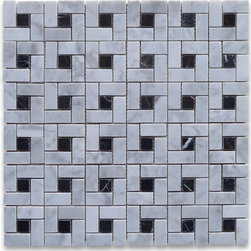 "Stone Center Corp - Carrara Marble Pinwheel Mosaic Tile Black Dots Polished - Carrara white marble 9/16"" x 1 3/16"" rectangle pieces and black 9/16"" dots mounted on 12"" x 12"" sturdy mesh tile sheet"
