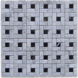 "Stone Center Corp - Carrara Marble Pinwheel Mosaic Tile Black Dots Polished - Carrara white marble 9/16"" x 1 3/16"" rectangle pieces and black 9/16"" dots mounted on 12"" x 12"" sturdy mesh tile sheet"