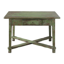 Lucky Charm Table - Good luck comes in many forms: four-leaf clovers, a shooting star, and the color green. This distressed table is no exception. It's looking for a winner of a home.
