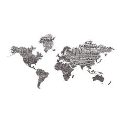 "1-World Text Map Wall Decal - Black on White - 78"" x 42"" - A modern and bold new world map! The 1-World Text Map Wall Mural features the continents of the world filled with the text of the country, city and place names, making it a modern and unique decorative map for your home or office. Available on a convenient peel & stick fabric. The peel & stick wall decal is printed on a high quality self-adhesive fabric material, making it easy to mount on any clean, smooth surface. It can be removed and repositioned with ease and without damage to the walls. A great way to give an interior space the impact of a mural without the mess and hassle of paste."