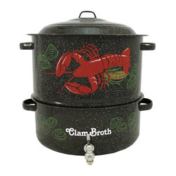 """Granite Ware - Granite Ware 3-Piece 19 qt. Decorated Lobster Pot Multicolor - F6194DS-1 - Shop for Steamers and Inserts from Hayneedle.com! Get the most out of your clambake feast with the Granite Ware 3-Piece 19 qt. Decorated Lobster Pot. This crowd-pleaser is decorated with a colorful lobster and clams and the words """"Clam Broth"""" on the bottom pot. But its best feature is its drain spout on the lower pot. This spout lets you easily collect the clam broth so you can make delicious soups. This lobster pot features a carbon-steel core and porcelain enamel finish; it easily absorbs heat and evenly distributes it for faster cooking. The finish is burn-resistant stain-resistant and won't trap food particles or odors. It's also dishwasher-safe and easy to clean by hand. Use caution when using this pot on a glass-top stove as it may scratch your stove's surface. Additional Features: Dishwasher-safe for easy cleanup Corrosion- and chemical-resistant for durability Domed lid helps trap heat and moisture Built-in faucet on lower pot for easy draining Lobster and clam decorations; """"Clam Broth"""" on lower pot Use caution when using pot on glass-top stove About Columbian Home ProductsNo one knows the ins and outs of the kitchen better than Columbian Home Products. Specialists in cookware bakeware canning pizza pans roasters and even tea kettles CHP sets high standards for all things delicious. From appetizer to dessert they have your cookware. Their central location in Lake Zurich IL means fast delivery."""