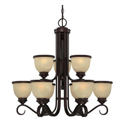 Savoy House - 9 Light 2 Tier Chandelier Willoughby Collection - Savoy House 1-5773-9 Willoughby 9 Light 2 Tier ChandelierA timeless design from the Willoughby collection, this nine light, two tier chandelier features elegant curling arms reminiscent of natural vintage styles of the past while the rich cream marble glass with classic metallic banding will bring a touch of classic elegance to your home.The ever popular Willoughby series features a striking English Bronze finish with cream marble glass and metal banding that provides a perfect match for today's modern styles.Savoy House 1-5773-9 Features:
