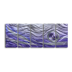 "'Violet Vortex' 5 Piece Handmade Metal Wall Art Set - Size: 24"" x 60"" (24"" x 12"" x 5pc).  Enjoy a 100% hand crafted metal wall art made of high grade brushed aluminum over a 1/2 inch thick inner wooden frame. This beautiful wall decor is hand painted and ready to hang out of the box. Each aluminum sheet is hand sanded and hand grinded until the desired holographic effect is accomplished. This process brings the artwork to life and you see it moving as you walk by. Then the grinded panels are hand painted with multiple layers of paint and finished with clear UV coat. With each purchase of our metal art you receive a one of a kind piece due to the handcrafted nature of the product. Hand crafted by a single talented artist. Due to the handcrafted nature, each piece may have subtle differences."
