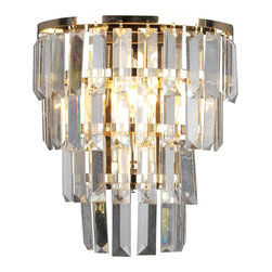Warehouse of Tiffany - Crystal Ring Wall Lamp - Add elegance to any entryway, dining room, kitchen or living area with this dazzling Crystal Ring Chandelier. Finished in a charming gold chrome, this dynamic lighting element features generous rows of cascading crystals to catch the light. Setting: IndoorFixture finish: Gold, glassNumber of lights: One (1)Requires one (1) 60-watt bulbDimensions: 12 inches high x 32 inches wide x 10 inches longThis fixture does need to be hard wired. Professional installation is recommended.CSA Listed, ETL Listed, UL Listed.  Wall mount.