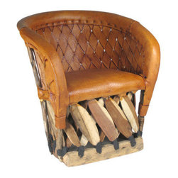 Mexican Artisans - Equipal Barrel Chair - You've got a barrel of style — so flaunt it with this remarkable barrel chair. Hand-crafted in Mexico from tanned pigskin and strips of cedar, it's contoured for comfort and features a novel, textural appeal well-suited to your favorite rustic setting.