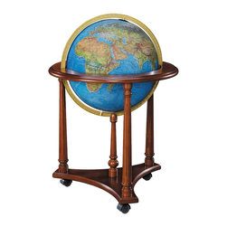 """Replogle - Lafayette illuminated floor world globe, Offered with Blue Ocean Globe - The elegant 33-inch tall chair-side LaFayette is a practical addition to the home or office. Features a 16"""" diameter illuminated globe ball, tasteful walnut-finish base and full die-cast meridian (ring supporting the globe) contribute to a globe you'll both use and admire for many years to come."""