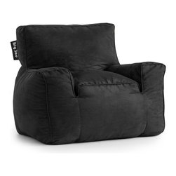 Comfort Research - Big Joe Black Microsuede Suite Lounger - Is it a bean bag or is it a framed chair? You won't know the difference until you sit on it. The Big Joe Suite Lounger has the look of your favorite chair, giving you the perfect seat for any room in your house. Made with soft, durable microsuede or faux leather. Filled with UltimaX Beans that conform to you.  Double stitched and double zippers for added strength and safety. Spot clean. Please note this item requires an additional shipping timeline of 10-14 days.