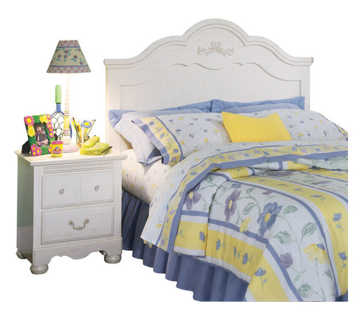 Standard Furniture - Standard Furniture Diana Sleigh Bed in White - Twin - Diana gives your princess her own Victorian retreat. Wood products with simulated wood grain laminates. This group may contain plastic parts. Some pieces feature open panel construction with metal roller bearing glides. Other pieces feature folded case side construction with center-mounted runners. Mirrors are back mounted and reinforced. Brushed-white, brass color swing bail pulls and clear plastic knobs. Simulated, white wash wood grain color. Surfaces clean easily with a soft cloth.