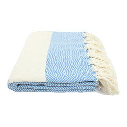 Turkish Linen & Towels - Turkish Diamond Towel, Peshtemal, Fouta for Beach, Bath, Spa, Hammam, Blue - Peshtemal is not only practical but also cost effective, eco-friendly (consumes less water, detergent and no softener) and versatile. It's perfect for using as a beach towel, pareo or sarong, bath towel, towel wrap, guest towel, spa towel, beach blanket and travel towel. It's also great for everyday use at the gym, poolside, spa, sauna and yoga centers. It's generously sized, thinner, lightweight, easy to carry and overall it's stylish. It absorbs water more than most towels, dries quickly and gets softer with each wash. It's richly made and you'll enjoy the natural quality of this Turkish towel. Unisex.