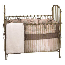 Cotton Tale Designs - Nightingale 4pc Crib Bedding Set - Nightingale 4pc crib bedding set is absolutely breath-taking and beautiful, creating a soft classic nursery with cotton percale bumper in subtle pink, gray and charcoal.