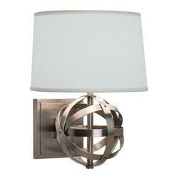 "Robert Abbey - Lucy Wall Sconce in Dark Antique Nickel - Features: -One light wall sconce. -Dark antique nickel finish. -Oval oyster linen shade. -Switch: On-off switch. -24"" Cord cover. -Direct wire. Specifications: -Accommodates (1) 60W G16.5 candelabra type bulb. -Overall height: 12.75"". For more information on this product please view the Specification Sheet(s) below: Specification Sheet"