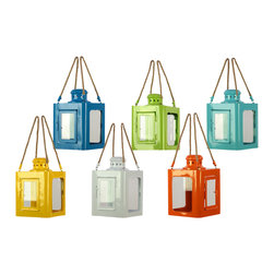 Phuket Lanterns - Hang our Phuket Lanterns from tree branches at varying heights to create a truly romantic atmosphere, or in a kitchen corner to bring a pop of color. With a metal frame and glass doors, these small lanterns protect your votives from the wind and the elements, ensuring that they remain lit.  Sold as a set of six colors — Deep blue, Green, Yellow, White, Orange, and Sky blue.
