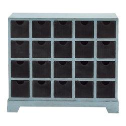 Blue Polished Metal Wood Chest Drawer - Description: