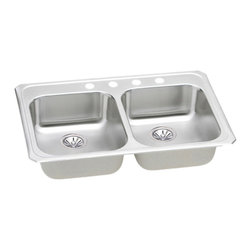 """Elkay - Elkay GECR33213  Celebrity Gourmet Double-Bowl Sink - Elkay's GECR33213 is a Celebrity Gourmet Double-Bowl Sink. This two-bowl sink is constructed of 20-gauge type 304 nickel-bearing stainless steel, and is self-rimming. It features a 5-3/8"""" bowl depth and a 3-1/2"""" drain opening."""