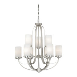 Vaxcel - Oxford Brushed Nickel 9 Light Chandelier - Vaxcel OX-CHU009BN Oxford Brushed Nickel 9 Light Chandelier