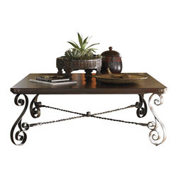 Lexington - Lexington Fieldale Lodge Blackstone Square Cocktail Table in Brown Mahogany - Lexington - Coffee Tables - 010455947 - The graceful iron scrollwork on the base, and decorative corner brackets on the top add to the sense of craftsmanship showcased in the soft undulation of the Hand - Hewn top.