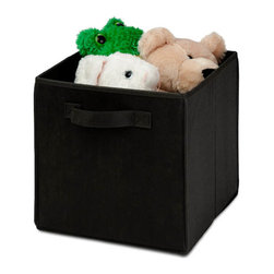 Honey Can Do - Non-Woven Foldable Storage Cube - Black - Durable polyester construction. Designed to hold Books, Toys, Games, Magazines, CDs, DVDs, almost anything. Contemporary design . Convenient and attractive storage. Folds flat when not in use. Stores away quick and easy. 10.6 in. L x 10.6 in. W x 11.4 in. H (1.3 lbs.)Honey-Can-Do SFT-01759 Folding Storage Cube, Black. Designed to hold books, toys, games, and anything else you want to stash away. The durable polyester construction, reinforced seams, and carrying handles on this storage cube will stand up to it all! The contemporary design provides convenient and attractive storage space for any decor. When not in use, the cube can fold flat for easy storing. Great for car trunks, kid's rooms, closets, shelving units, and more!