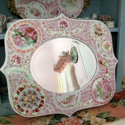 Fabulous Curvy Mirror Shabby China Mosaic with Pink Roses -