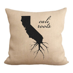 Fiber and Water - Cali Roots Pillow - A great silhouette of the state of California, enhanced with roots for those California natives who are never too far away. This hand-printed piece of art has beautiful texture from a combination of natural burlap and water-based paints. Hand-pressed onto natural burlap using water-based inks.