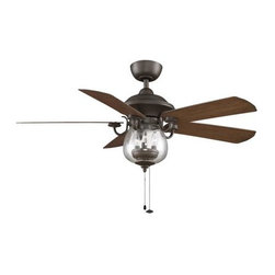 Fanimation - Fanimation Crestford Ceiling Fan in Oil-Rubbed Bronze - Fanimation Crestford Model FA-FP7954OB in Oil-Rubbed Bronze with Reversible Walnut/Cherry all-weather ABS composite Finished Blades.