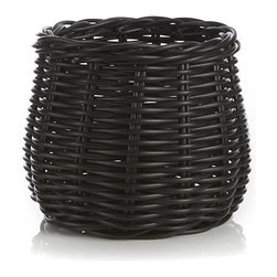Small Basket Planter - Synthetic rattan crafts a rustic container for potted palms, miniature trees and other large-scale greenery that can be used indoors or out.