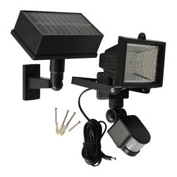 Solar Goes Green - Solar Goes Green SGG-PIR54 LED Solar PIR Motion Sensor Security Flood Light - Whether you need security light protection or just some light in a dark space occasionally, the Solar Goes Green Solar Powered Motion Security Light with 54 LEDs will definitely meet your demand for both quality and performance. This will allow you great flexibility in helping you to locate the light exactly where you need it. The panel and light are made of weather resistant black plastic ABS. Unit has aday/night photo cell as well as Infra Red sensor which isactivated when people are present or move in detecting zone 30-45 feet away. Specifications: Solar Panel is mono crystalline Sealed maintenance free Lead-acid battery, volts, 4Ah rated. 9 feet of cable between the Solar Panel and the Security Motion Light  duration can be adjust from lengths of 1-4 minutes. Light will stay continuously on as long as motion is detected Total amount of illumination 120 minutes per full battery cycle charge.