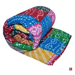 "Koko Hand Tie Dyed Throws 60"" x 60"" Bright - Throws Hand Tie-Dyed in India. 100% Cotton hand quilted tie-dye patchwork."