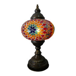 Jay Bazaar - Ethnic Multicolor Mosaic Lamp - Rainbow - Authentic Desk Lamp , Moroccan Style Lamp , Night Lamp, Exotic Lamp