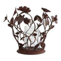 Fleur Candleholder - Add a rustic touch to your room with this sculpted Fleur Candleholder. Detailed flower blossoms and curvy vines form globe over candle; holds 1 French votive candle