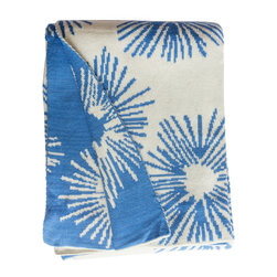 Fab Habitat - Fab Habitat Throws - Lilydale-Light Blue & Natural - Fab Habitat features knitted cotton throws in vivid colors and patterns. From our renowned Metro collection, these throws are certain to keep you warm from the cold of winter and add a perfect accent to your sofa or bed.