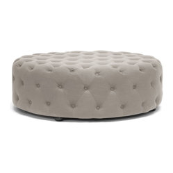 Baxton Studio - Baxton Studio Cardiff Beige Linen Modern Tufted Ottoman - Tie your room together with the well-designed Cardiff Modern Ottoman.  This large, circular footstool softens a space with its lack of angles and its versatile, neutral beige linen upholstery.  A surplus of button tufting brings an element of traditional style to this otherwise contemporary ottoman.  Our Cardiff Ottoman is fully assembled and made in China with eucalyptus wood, polyurethane foam padding, and black wood legs. A dark gray linen option is also available (sold separately).  Spot clean only.