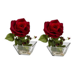 """Nearly Natural - Rose w Square Vase Silk Flower Arrangement - A stately bloom and lush buds. Liven up any space with this masterpiece. Will last for years to come. Construction Material: Polyester material, Iron wire, Resin, Glass. 5 in. W x 4.5 in. D x 7.5 in. H ( 2 lbs. ). Pot Size: 4.25 in. W x 2.25 in.HYou know, sometimes, the Rose looks best on its own.  And this beautiful Rose w/ Square vase set is the perfect representation of such. With a stately bloom and lush buds, this is the ideal """"stand-alone"""" piece for an area that needs some life, but doesn't want to be overwhelmed. And, of course, there are two of them, so you get double the beauty. Comes in an elegant square vase w/ faux water."""