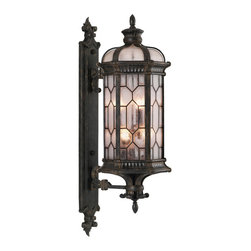 Fine Art Lamps - Devonshire Large Outdoor Wall Mount, 414081ST - Bring a touch of grand English manor to your home's facade. This small wall mount features textured glass panes and an antiqued bronze finish with subtle gold accents.