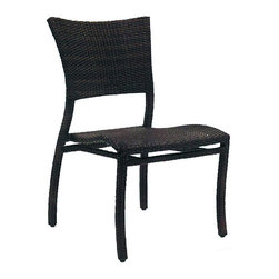 Frontgate - Skye Dining Outdoor Side Chair with Cushion - Ideal for any environment, including oceanfront and saltwater destinations. Durable aluminum frames woven with rich black walnut high-quality resin wicker. Specially formulated high-quality resin provides superior UV resistance and is formulated for a realistic look and feel. Stacks for easy storage. Cushion covered in exclusive Sunbrella&reg fabrics, the finest solution-dyed, all-weather material available. The superbly built Skye Collection from Summer Classics&reg seems to capture the simplicity of a summer day. This lightweight, stackable dining chair is fully handwoven with high-quality resin wicker, making this collection perfect for worry-free coastal enjoyment or any outdoor setting.Part of the Skye Collection by Summer Classics&reg.  . . . . Note: Due to the custom-made nature of the cushions, any fabric changes or cancellations made to the Skye Collection must be made within 24 hours of ordering.